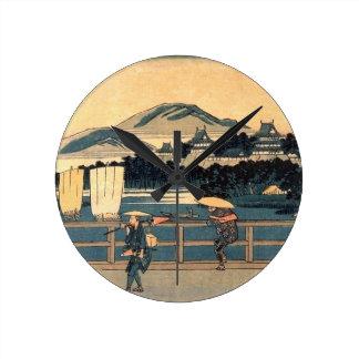 Japanese Bridge Crossing Vintage Woodblock Art Wall Clock