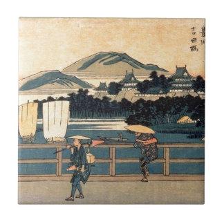 Japanese Bridge Crossing Vintage Woodblock Art Tile