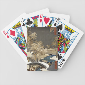 Japanese Bridge in the Snow Bicycle Playing Cards