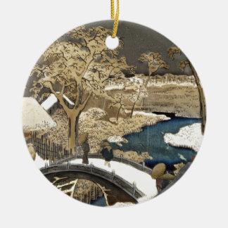 Japanese Bridge in the Snow Ceramic Ornament