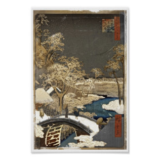 Japanese Bridge in the Snow Poster