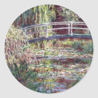 Japanese Bridge Symphony in Rose Fine Art Classic Round Sticker
