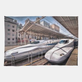Japanese Bullet Trains at Tokyo Station Towel