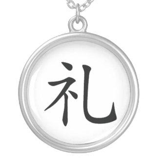 Japanese Bushido Morality Kanji Necklace