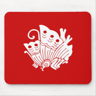 Japanese Butterfly Kamon Design Mouse Pad