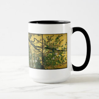 Japanese byobu painted screen with a tree mug