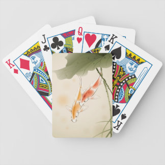 Japanese Carp fishes swimming in lotus pond Bicycle Playing Cards