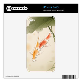 Japanese Carp fishes swimming in lotus pond Decal For The iPhone 4