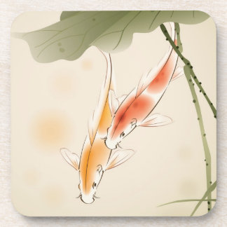 Japanese Carp fishes swimming in lotus pond Drink Coaster