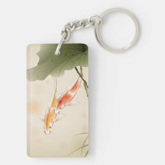 Japanese Carp fishes swimming in lotus pond Keychain