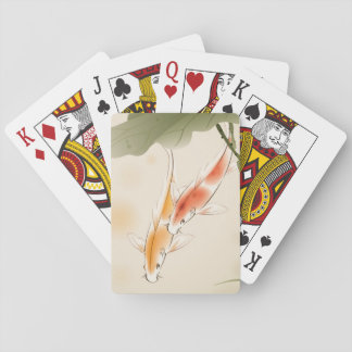 Japanese Carp fishes swimming in lotus pond Playing Cards