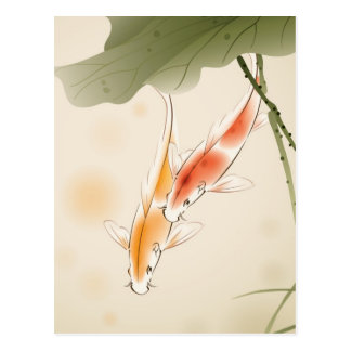 Japanese Carp fishes swimming in lotus pond Postcard