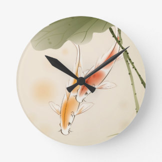 Japanese Carp fishes swimming in lotus pond Round Clock