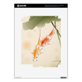 Japanese Carp fishes swimming in lotus pond Decal For iPad 3