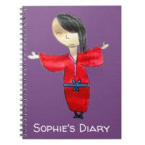 Japanese cartoon doll red kimono cute art diary notebook