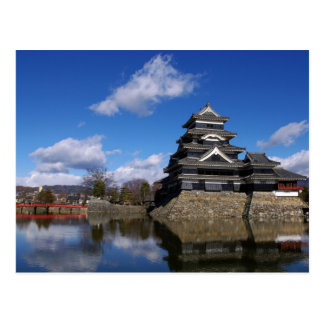 Japanese Castle surrounded by blue castle moat Postcard
