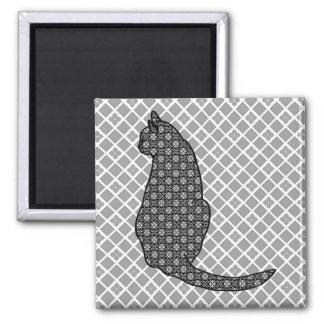 Japanese Cat - Black and White Kimono Print Magnet