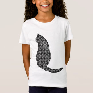 Japanese Cat, Black and White Kimono Print T-Shirt