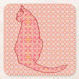 Japanese Cat - Coral Orange Batik Square Paper Coaster