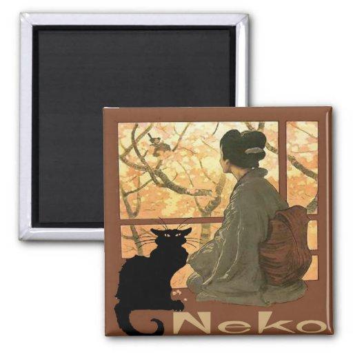 Japanese Cat Neko 2 Inch Square Magnet