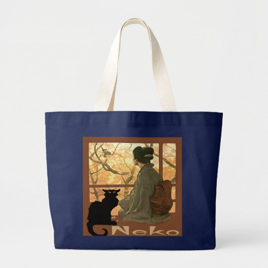 Japanese Cat Neko Large Tote Bag