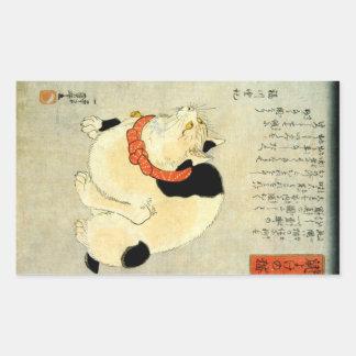 Japanese Cat, Utagawa Kuniyoshi Rectangular Sticker