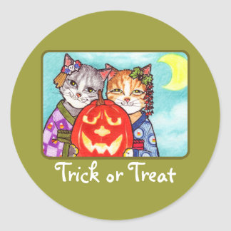 Japanese cats with pumpkin classic round sticker
