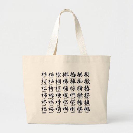 Japanese character regarding the wood black canvas bag
