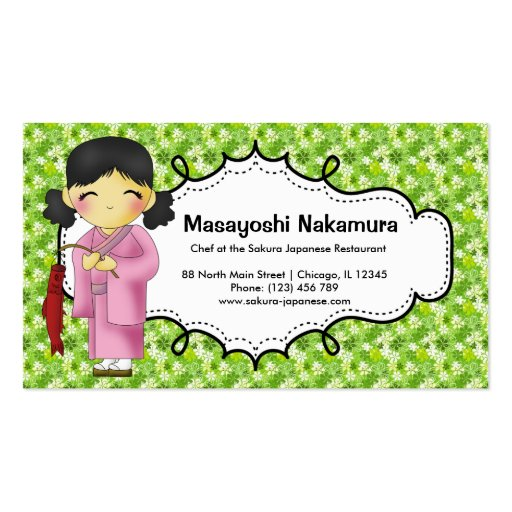Japanese Chef Restaurant Business Cards