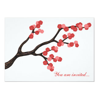 Japanese Cherry Blossom branch design in pink. Card