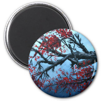 japanese cherry blossom flower tree  oriental art 2 inch round magnet
