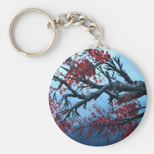 japanese cherry blossom flower tree  oriental art basic round button keychain