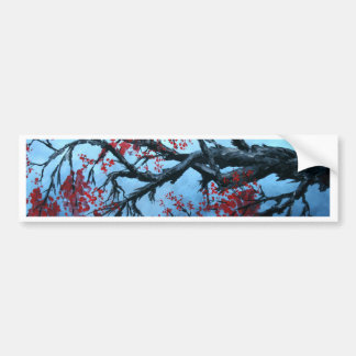japanese cherry blossom flower tree  oriental art bumper sticker