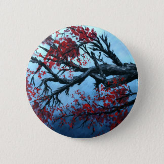 japanese cherry blossom flower tree  oriental art button