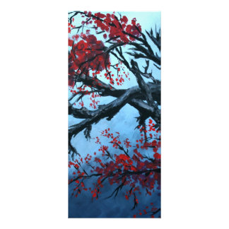 japanese cherry blossom flower tree  oriental art rack card