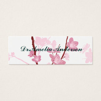 Japanese cherry blossom, gentle pink flower,girly, mini business card