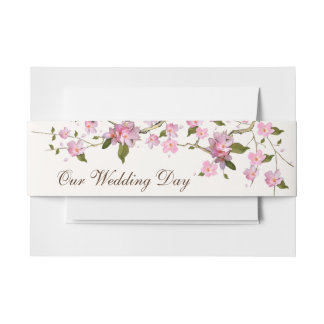 Japanese Cherry Blossom Invitation Belly Band