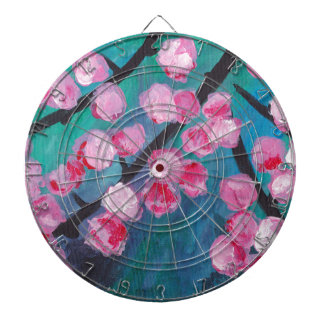 Japanese Cherry Blossom Painting Dartboard With Darts