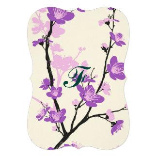 "Japanese cherry blossom, royal purple, flower,girl 5"" x 7"" invitation card"
