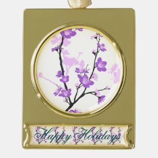 Japanese cherry blossom, royal purple, flower,girl gold plated banner ornament