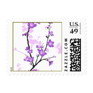 Japanese cherry blossom, royal purple, flower,girl postage