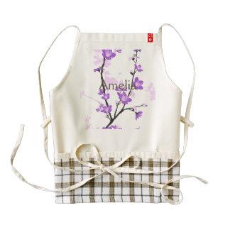 Japanese cherry blossom, royal purple, flower,girl zazzle HEART apron