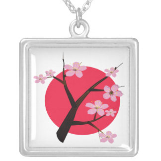 Japanese Cherry Blossom Tattoo Silver Plated Necklace