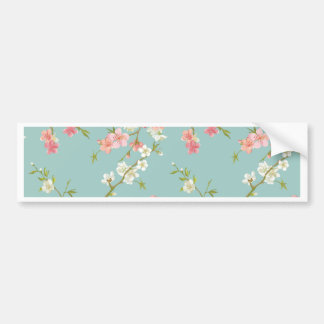 Japanese,cherry blossom,teal,white,pink,floral,fun car bumper sticker