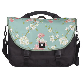 Japanese,cherry blossom,teal,white,pink,floral,fun laptop messenger bag