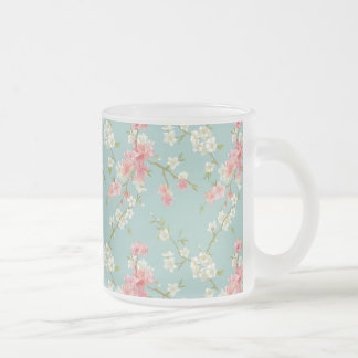 Japanese,cherry blossom,teal,white,pink,floral,fun 10 oz frosted glass coffee mug