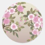 Japanese Cherry Blossoms Classic Round Sticker