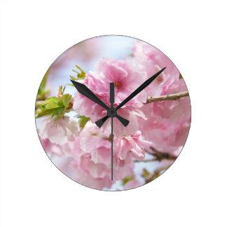 Japanese cherry blossoms round wallclock