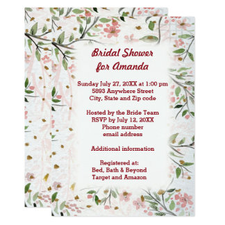 Japanese Cherry Blossoms Flowers Bridal Shower Card