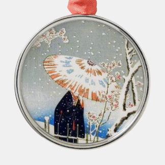 Japanese Cherry Blossoms Metal Ornament